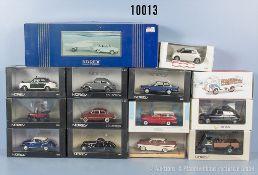 Konv. 14 Norev Modellfahrzeuge, dabei Oldtimer, Lieferwagen, Einsatzfahrzeuge usw., Metallausf., M