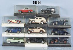 Konv. 11 Solido Modellfahrzeuge Oldtimer, Sportwagen und Limousinen, Metallausf., M 1:43, sehr guter