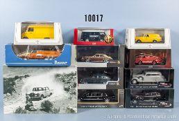 Konv. 11 Modellfahrzeuge, dabei Oldtimer, Lieferwagen usw., Metallausf., M 1:43, versch. Hersteller,