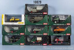 Konv. 10 Schuco Modellfahrzeuge, dabei Lkw, Lieferwagen usw., Metallausf., M 1:43, sehr guter bis