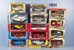 Konv. 14 Bburago Modellfahrzeuge, dabei Oldtimer, Sportwagen und Pkw, lack. Metallausf., M 1:24,