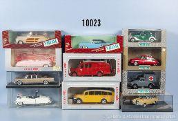 Konv. 11 Vitesse Modellfahrzeuge, dabei Oldtimer, Lieferwagen, Einsatzfahrzeuge usw., Metallausf., M