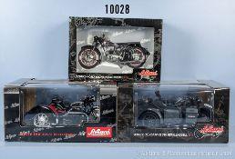 Konv. 3 Schuco Motorräder, Horex Regina, Zündapp KS 750 und BMW R25/3, Metallausf., M 1:10, sehr