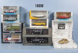 Konv. 10 Minichamp Modellfahrzeuge, dabei Oldtimer, Lieferwagen, Pkw usw., Metallausf., M 1:43, sehr
