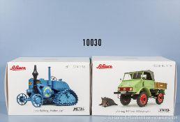 """Konv. 2 Schuco Modellfahrzeuge, Unimog 401 mit Wildschwein und Lanz Bulldog """"Halbraupe"""","""