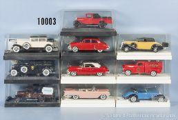 Konv. 10 Solido Modellfahrzeuge Oldtimer, Lieferwagen, Sportwagen und Limousinen, Metallausf., M 1: