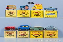 Konv. 8 Matchbox Modellfahrzeuge Serie 1-75, dabei Nr. 11 A, 25 A, 31 B, 35 A, 42 A, 44 A, 57 B