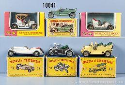 Konv. 6 Matchbox Models of Yesteryear, 2 x Y-4 (C) 1967 (1 x beschädigt, Dach fehlt), Y-8 (B)