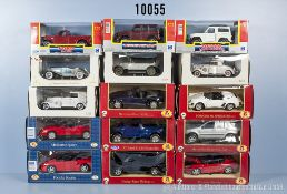 Konv. 15 Modellfahrzeuge, dabei Oldtimer, Sportwagen und Pkw, lack. Metallausf., M 1:24 bis 1:32,