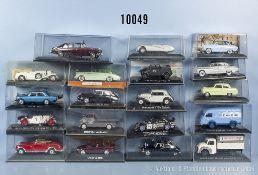 Konv. 19 Modellfahrzeuge, dabei Oldtimer, Sportwagen, Lieferwagen usw., lack. Metallausf., M 1:43,