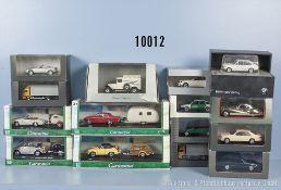 Konv. 15 Modellfahrzeuge, dabei Pkw, Oldtimer, Sportwagen, Lkw usw., Metallausf., M 1:43, versch.