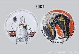 Konv. 2 Rosenthal Porzellanteller, dabei Satiere Teller von Ernst Maria Lang und Künstlerteller