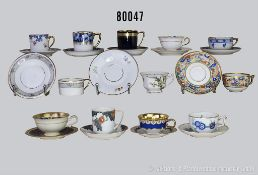 Konv. 19 Rosenthal Porzellan Mokka-Sammeltassen, dabei Espresso Sammeltasse Nr. 7 von O. Alt,