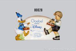 """Goebel Hummel Aufsteller """"Händlerschild"""" mit Donald Duck und Junge als Trommler, Aufschrift"""
