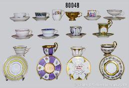 Konv. 26 Porzellan Mokka Sammeltassen, verschiedene Hersteller und Dekore, u.a. Nymphenburg,
