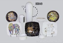 Konv. 10 Teile Rosenthal Porzellan, dabei Kaffeekanne, Studio-Line, Zuckerdose mit Deckel, 1