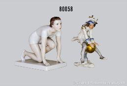 Konv. 2 Porzellan Figuren, dabei Rosenthal Läuferin, auf rechteckigem Sockel, um 1935, Nr. 835,