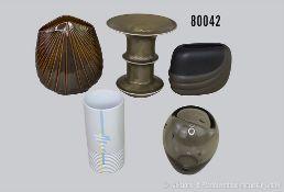 Konv. 5 Rosenthal Porzellan Vasen, verschiedene Motive und Dekore, dabei 3504/18 1 x Glas, 2824/18