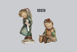 """Konv. 2 Goebel Hummel Figuren, Nr. 3 """"Der Bücherwurm"""" und Nr. 21/0 """"Christkindlein kommt"""", H bis"""
