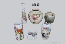 Konv. 6 Rosenthal Porzellan Vasen, verschiedene Dekore und Motive, dabei Barbara Brenner 3791/18,