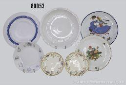 Konv. 7 Teile Porzellan, dabei 2 Rosenthal große Teller, D 26 und 31,5 cm, Rosenthal Suppenteller