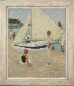 Raoul du GARDIER (1871-1952) - A la plage, Noirmoutiers, huile sur toile signée en [...]
