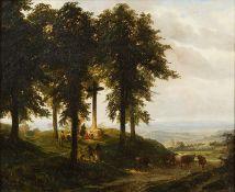 Robert Leopold LEPRINCE (1800-1847) - Angelus autour du calvaire - Huile sur toile [...]