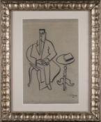 Roger de LA FRESNAYE (1885-1925) Homme assis au guéridon - Dessin au fusain signé [...]