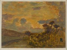 Auguste RAVIER (1814-1895) - Paysage - Huile sur carton signée en bas à droite - [...]