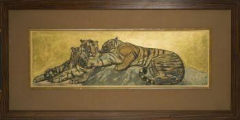 Paul JOUVE (1894-1973) -Tigres au repos, 1932 - Eau forte et aquatinte en couleurs [...]