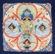 Foulard Amazonia - in seta su fondo color panna, bordo color blu, Laurence [...]