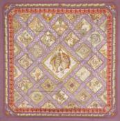 Foulard Mare Nostrum - in seta, colori vari, bordo color viola, Annie Faivre. -