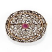 Mario Buccellati - A silver, 18K yellow gold, ruby and diamond brooch, Mario [...]