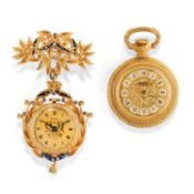 Two gilded metal and 18K yellow gold watches - Two gilded metal and 18K yellow gold [...]