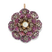 A silver, low-carat gold, pearl and ruby pendant brooch, first half of 20th Century - [...]