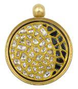 18ct gold swivel pendant polki diamonds kundan set in 24ct gold, the reverse set with black and