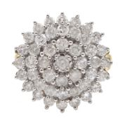 9ct gold cluster ring set with diamonds, diamond total weight approx 2.00 carat