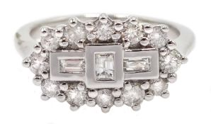 18ct white gold and diamond cluster ring, diamond total weight 0.75 carat
