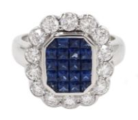 18ct white gold, sapphire and diamond cluster ring, sapphire total weight 2.10 carat, diamond