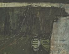 George Devlin (Scottish 1937-2014): Boats at Port-Vendres, pastel signed, 53cm x 71cm