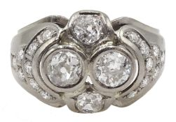 Continental 14ct white gold old cut and round brilliant cut diamond ring, stamped 585, total diamond