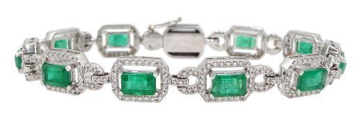 18ct white gold emerald cut emerald and round brilliant cut diamond bracelet, hallmarked, emerald