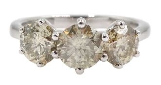 18ct white gold three stone round brilliant cut diamond ring, total diamond weight 2.16 carat,