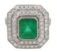 Platinum emerald and double row diamond ring, with diamond set shoulders, emerald approx 1.85 carat,