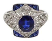 Platinum sapphire and diamond dress ring, pierced openwork setting