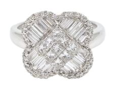 18ct white gold and diamond cluster ring, diamond total weight approx 1.25 carat