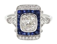 Art Deco style 18ct white gold, sapphire and diamond ring, central old cut diamond surrounded by