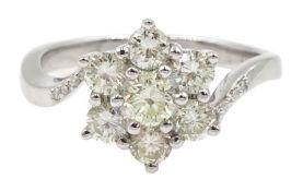 18ct white gold diamond cluster ring, hallmarked, diamond total weight 1.00 carat
