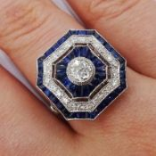 Large Victorian style platinum cluster ring, set with diamonds and sapphires, total weight of