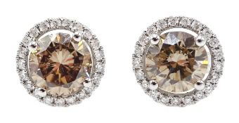 18ct white gold fancy natural light brown diamond halo stud earrings, centre diamond total weight